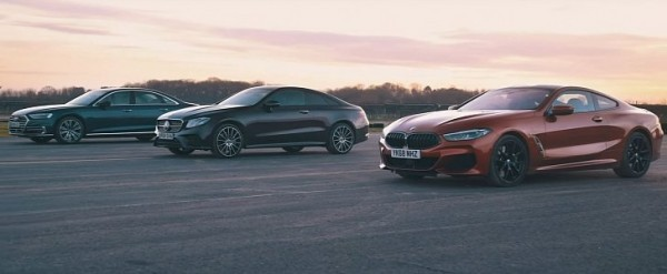 BMW 840d Drag Races Diesel E-Class Coupe and Audi A8