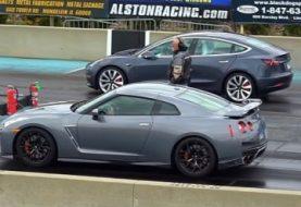 Tesla Model 3 Drag Races Nissan GT-R, Jaguar XJS Convertible With V8 Swap