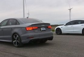Audi RS3 Sedan Drag Races Tesla Model 3. Can quattro Win?