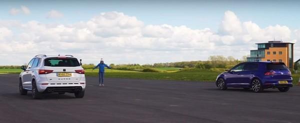 Golf R Drag Races Cupra Ateca SUV, Gets Demolished With Cheap Mod